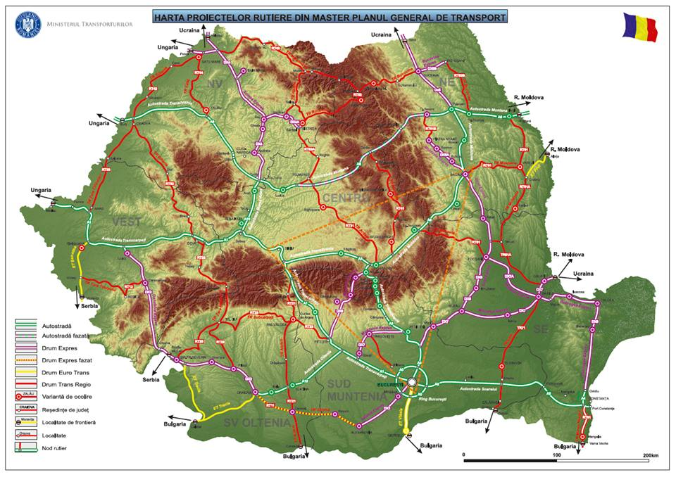 Harta proiectelor rutiere din Master Planul General de Transport.